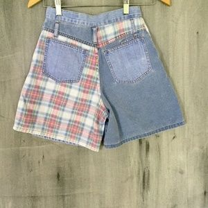 90's High Waist Mom Shorts Lightwash & Plaid 24""